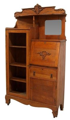 Oak Secretary Bookcase With Curved Glass Door Ebay