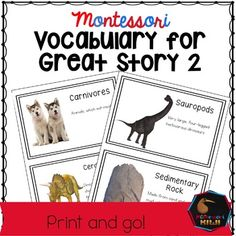 Montessori Elementary Great Story or Great Lesson Material for the second story, The coming of life Included are terms children may hear during the story. As the great stories are so rich sometimes children may not hear all of the key vocabulary we wish them to hear.