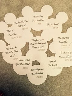 Disney themed wedding table names and quotes