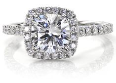 engagement ring | cut Halo Engagement Ring in Platinum featuring a 1.50 carat cushion ...
