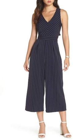 5cc5d523f72e 1901 Pinstripe Tie Back Crop Jumpsuit (Regular