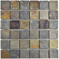 Shop for SomerTile 12x12-inch Ridge Quad Sunset Slate Natural Stone Floor and…