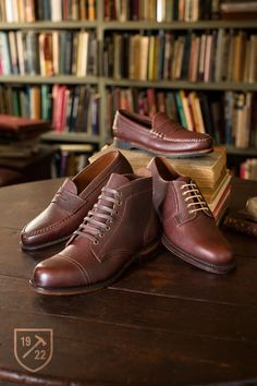 Duke in Brown Football Grain - Slip-on Penny Loafer Men's Casual Shoes by Allen Edmonds, $195; Gridiron in Brown Football Grain - Plain-toe Lace-up Oxford Men's Casual Shoes by Allen Edmonds, $295; Promontory Point in Brown Football Grain - Cap-toe Lace-up Men's Dress Boots by Allen Edmonds, $350; Patriot in Brown Football Grain - Slip-on Loafer with Hand Stitched Vamp Men's Dress Shoes by Allen Edmonds, $345 #allenedmonds #football Shop Football Grain Leather http://wngtp.us/l4nY