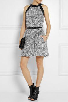 Hate the shoes but love the dress - Karl Lagerfeld Abira printed silk mini dress $490