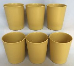 Tupperware Harvest Gold Glass Set of 6 VTG 6 Ounce OZ Drinking Tumbler Cup 1251