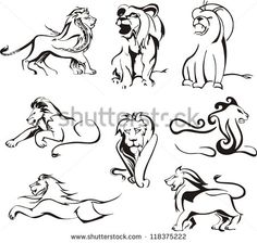 stock-vector-stylized-lions-set-of-black-and-white-vector-illustrations-118375222.jpg (450×428)