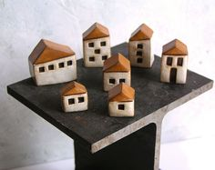 Handmade polymer clay houses set of 7  instant little by SkyeArt, $82.00