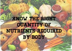 Know the right quantity of nutrients required by body