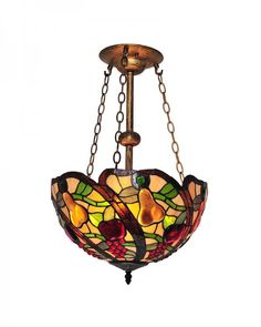 Creative Fruit Pattern Stained Glass Tiffany Style Chandelier Lighting 2015
