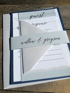 Navy Blue and Gray Wedding Invitation Suite, Navy Blue Wedding Invitation, Pocketfold, Modern, Blues and Grays, Grey, Stacked