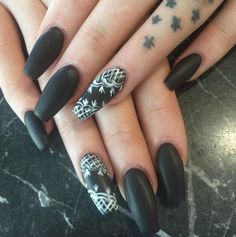 Gothic Glamour Show off your dark side with a matte black mani complete with lace-patterned accent nails.