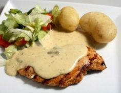 This Grilled Chicken with Garlic Cream Sauce giving to me by a  friend of mine who knows how much I love garlic.