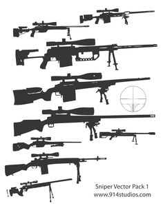 The evolution of the Sniper Rifle. From with to 50 cal semi-auto! Vector Gun Obtain Silhouette Clip Art, Silhouette Projects, Soldier Silhouette, Weapons Guns, Airsoft Guns, Thing 1, Tactical Gear, Tactical Knives, Pictogram