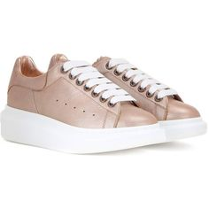 Alexander McQueen Metallic Leather Sneakers (364 AUD) ❤ liked on Polyvore featuring shoes, sneakers, pink, real leather shoes, pink metallic shoes, metallic sneakers, leather trainers and genuine leather shoes