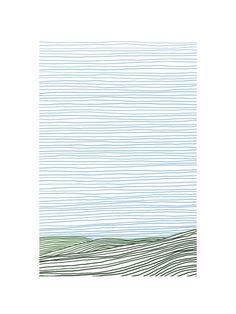 Stripe Landscape: Green Hills by Jorey Hurley for Minted