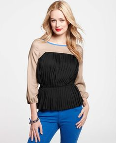 Ann Taylor - AT Blouses Tops - Crepe Pleated 3/4 Sleeve Top  The lines on the side aren't as straight as I would like them, but for some reason I really like this top....