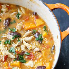 Here's a recipe you'll be filing under Favorites. A hearty, healthy chicken stew with butternut squash, quinoa, onions and tomatoes.