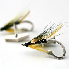 Hand tied Fly Fishing Silver Cufflinks- JC Yellow and Black
