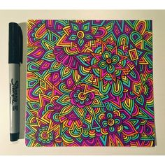 mindless rainbow design #zentangle #zenspire #blynndesigns #sharpie #prismacolor