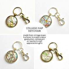 Personalize a vintage map keychain with a college or university to make a perfect graduation gift / by salvagedstudiomke on Etsy / high school graduation gifts / college graduation gifts / teacher appreciation gift / staff appreciation gift / teacher retirement gift  / graduation gifts for guys
