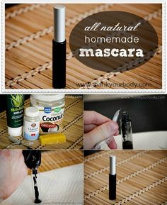 Homemade mascara - Do you want long and strong eyelashes? Try 2 tsp coconut oil (where to find coconut products) 4 tsp aloe vera gel (like this) 1/2 tsp grated bees wax  1 – 2 capsules of activated charcoal (for black) when using charcoal tablets, carefully pull them apart, and empty them by gently squeezing and releasing the tablet (This stuff stains, so use caution) or cocoa powder (for brown) & a clean mascara container
