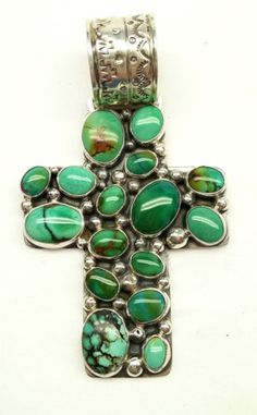 Native American Sterling Silver Turquoise Cross Pendant by Philbert Secatero