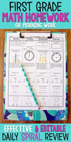 First Grade math homework or morning work that provides a daily review of ALL 1st grade math standards. This 1st Grade spiral math review resource is fully EDITABLE and comes with answer keys and a pacing guide.