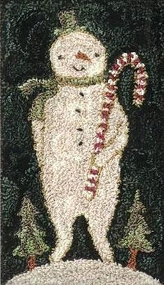 Punch Needle - Candy Cane Snowman - Choose Pattern Only or Pattern with Floss Kit Choose Pattern Only or Pattern with Floss Kit from the drop down box, and Add to Cart. The floss ki Rug Hooking Designs, Rug Hooking Patterns, Rug Patterns, Punch Needle Patterns, Cross Stitch Patterns, Hook Punch, Weavers Cloth, Penny Rugs, Primitive Christmas
