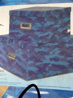 NEXT SET OF 2 BLUE CAMOUFLAGE ARMY STORAGE BOXES CARD BOYS BEDROOM TOYS