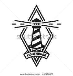 Lighthouse logo. Vintage monochrome style.