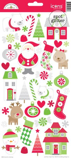 Doodlebug Design - Home for the Holidays - Christmas - Sugar Coated Cardstock Stickers - Icons at Scrapbook.com