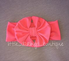 A personal favorite from my Etsy shop https://www.etsy.com/listing/228407365/deep-coral-messy-bow-headwrap