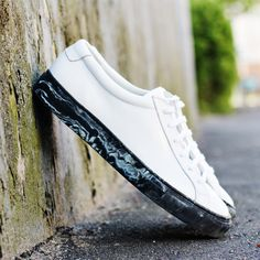 White leather with black marble sole
