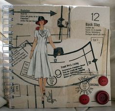 Recycled upcycled journal/notebook made using a Vogue sewing pattern by swirlyarts | Craft Juice