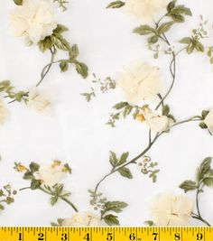 Gertie Collection Fabrics-Blossoms 3D Organza Cream