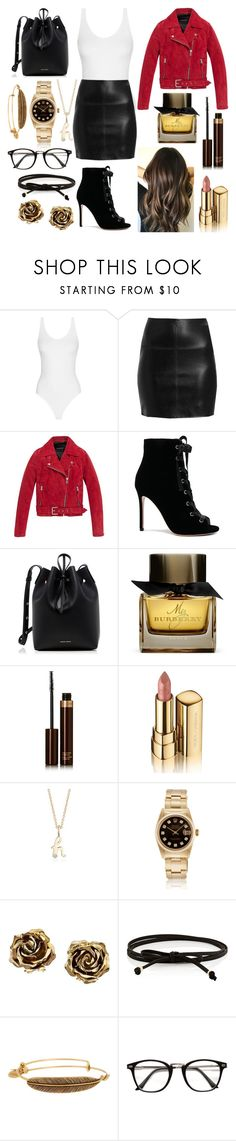 """Tenue swag"" by lucielecuyer ❤ liked on Polyvore featuring Andrew Marc, Gianvito Rossi, Mansur Gavriel, Burberry, Tom Ford, Dolce&Gabbana, Blue Nile, Tiffany & Co., Jules Smith and Alex and Ani"