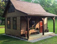 Garden Design Ideas A-Frame Cabin Style Shed Cabin, Tiny House Cabin, Cabin Plans, Cabin Homes, Shed Plans, Cottage Homes, House Plans, Small Log Cabin, Tiny Cabins