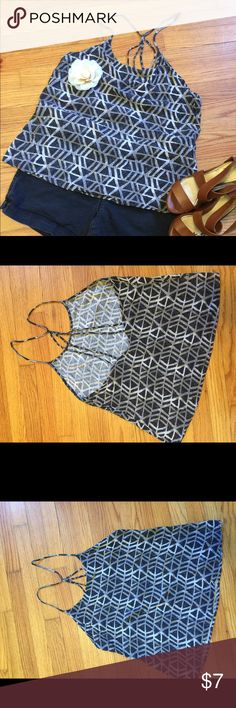 Grey Deci Design Strappy Tank #A6C_7 Comfy easy breezy tank.  Great Strappy back detail - just too big now. Xhilaration Tops Tank Tops