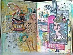 Mixed Media Art Journal Layout by Kate's Scrap Yard