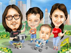 The Nia Family Caricature