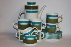 Meakin 1970s Elite coffee set cups saucers by MillCottageRetro