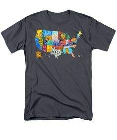 Art Men's T-Shirt (Regular Fit) featuring the mixed media License Plate Map Of The United States by Design Turnpike