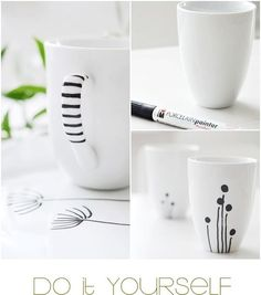 Cheap IKEA mugs + porcelain paint pen = custom mugs = quick and cute gifts. (i'm sure you could use the oven trick and sharpie too) Porcelain Paint Pens, Porcelain Ceramic, Painted Porcelain, Ceramic Mugs, Diy Projects To Try, Craft Projects, Sharpie Projects, Sharpie Crafts, Diy Becher