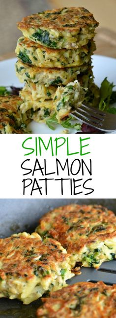 This simple recipe for salmon patties only requires four ingredients, and it's done in less than 30 minutes! An easy, nutritious, and delicious dinner that my whole family loves. via @Alyssa @ Good + Simple | Recipes + Tips + DIY + Home