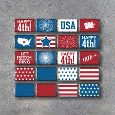 4th of July Mini Candy Bar Wrappers – Instant Download – Printable 4th of July Party Favors – Independence Day Party Favors. By Studio 120 Underground, $5.