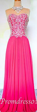 #promdress01 unique sweetheart neckline strapless rose chiffon prom dress for teens. A long ball gown for season 2015