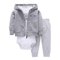 bc3e3b11dbe baby boy spring clothes gray Long sleeve jackets+romper+stripe pants cotton  clothes set for newborn baby girl costume.