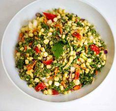Kale and Corn Salad with Miso Tahini Dressing