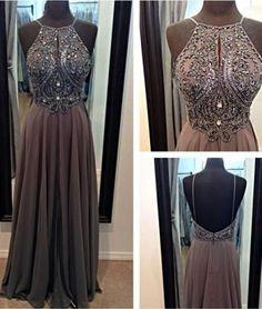 Unique A-line Chiffon Beaded Long Prom Dresses, Evening Dresses, modest prom dress long #prom #pomdress