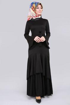 B.İ.S. - Katlı Volan Kol Elbise BİS4184 Siyah